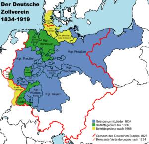 Karte Deutscher Zollverein