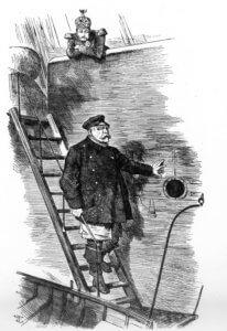 Karikatur Lotse geht von Bord Bismarck