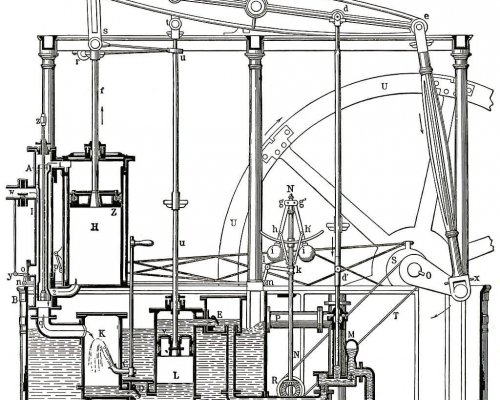 Skizze der Dampfmaschine