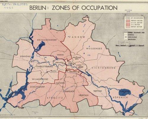 Karte der Sektoren Berlins nach 1945