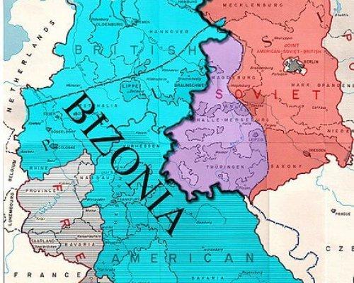 Karte der Bizone in Westdeutschland
