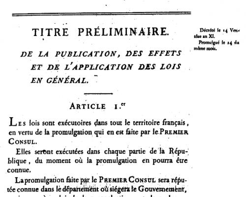 Code civil im Jahr 1804