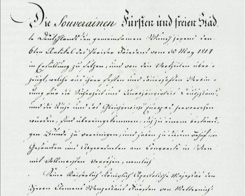 Deutsche Bundesakte, 10. Juni 1815