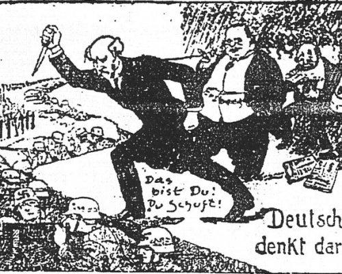 Karikatur der Dolchstoßlegende