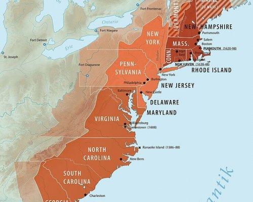 Karte der 13 Kolonien in Nordamerika
