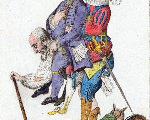 """Bis 1789 existierte in Frankreich die Ständegesellschaft. Der """"Dritte Stand"""" (98% der Bevölkerung) umfasste Bürger und Bauern, die im Vergleich zum Adel und Klerus über keine politischen Rechte verfügten (Karikatur)"""