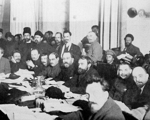 Lenin und die Bolschewiki auf dem Parteitag