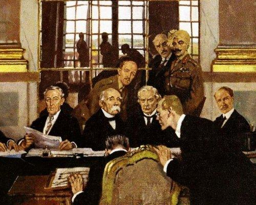 Auf der Versailler Friedenskonferenz (1919) wurde der Erste Weltkrieg beendet. Deutschland wurden von den Siegermächten harte Friedensbedingungen auferlegt