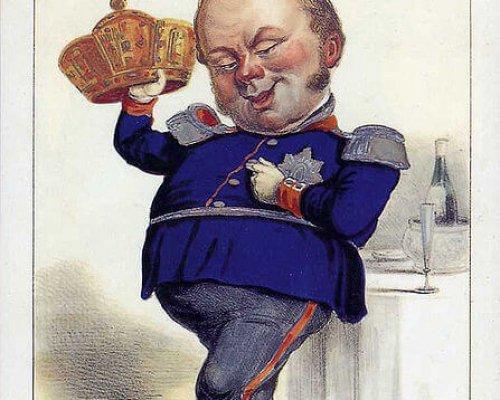 Karikatur Friedrich Wilhelm IV. und die Kaiserkrone