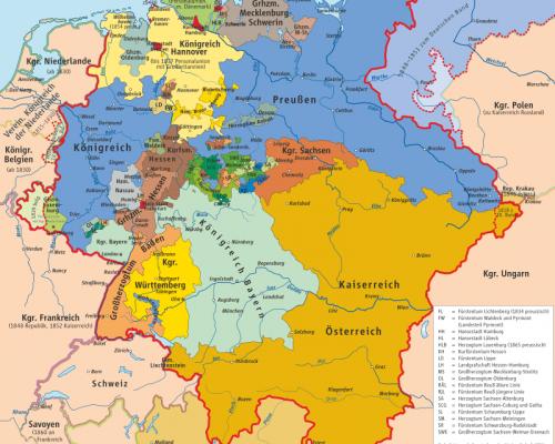 Zwischen 1815 und 1866 bestand das heutige Gebiet Deutschlands als lockerer Staatenbund von souveränen Einzelstaaten (Deutscher Bund)