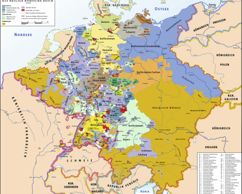 """Deutschland war um 1789 noch kein Nationalstaat, sondern bestand als """"Flickenteppich"""" aus zahlreichen Klein- und Mittelstaaten"""