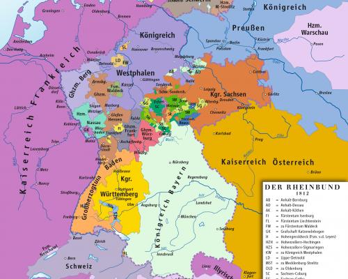 Karte Rheinbund, 1812