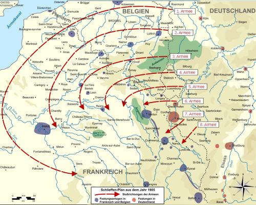 Karte des Schlieffen-Plans