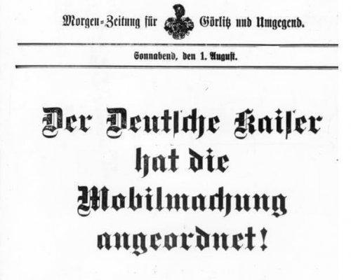 Mobilmachung 1914 Kriegsausbruch