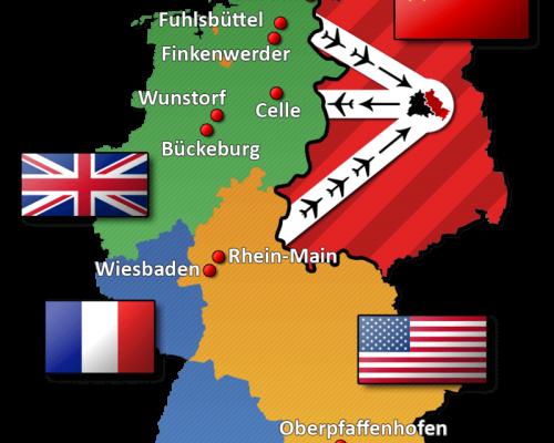 Karte der Luftkorridore während der Berlin-Blockade 1948/49