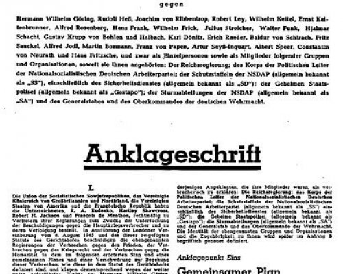 Anklageschrift vor den Nürnberger Prozessen