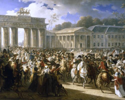 Napoleon vor dem Brandenburger Tor in Berlin