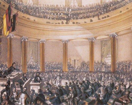 In der Frankfurter Nationalversammlung debattierten die Abgeordneten über die Frage, ob Österreich in einen gesamtdeutschen Nationalstaat integriert werden soll (Großdeutsch oder Kleindeutsch)