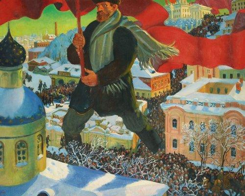 """Infolge der """"Oktoberrevolution"""" der Bolschewiki in Russland (1917) wurden die Ideen von Marx und Engels in Form des """"Marxismus-Leninismus"""" erstmals in die politische Praxis umgesetzt"""