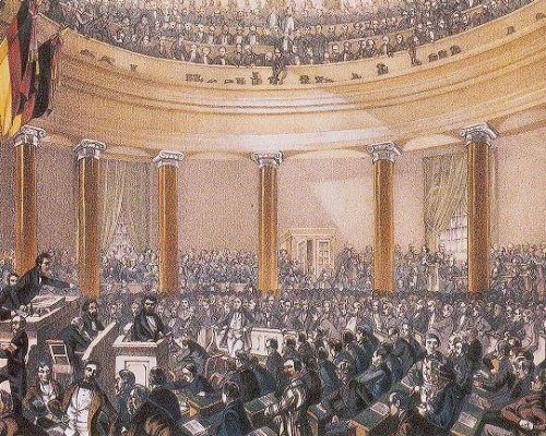 Sitzungssaal der Frankfurter Nationalversammlung (mit verschiedenen politischen Gruppierungen)