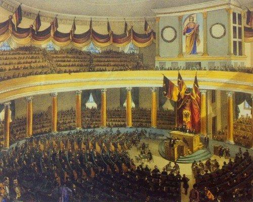 """In der 1848er Revolution tagte erstmals ein gesamtdeutsches Parlament mit verschiedenen Fraktionen. 1848 gilt daher als """"Geburtsstunde politischer Parteien"""" in Deutschland"""