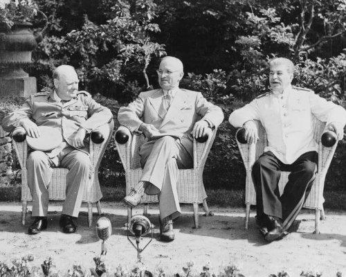 "Die ""großen Drei"": Winston Churchill, Harry Truman, Josef Stalin"