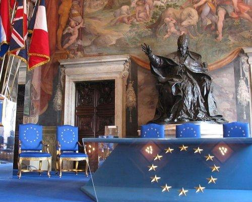 Der Saal in den Musei Capitolini (Kapitolinischen Museen) in Rom, wo mit der Unterzeichnung der Römischen Verträge im Jahr 1957 die Grundlagen für die heutige Europäische Union (EU) geschaffen wurden