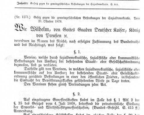 Text Sozialistengesetz 1878