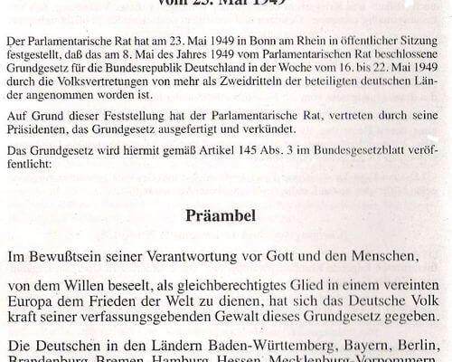 Präambel des Grundgesetz 1949