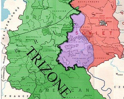 Karte der Trizone in Westdeutschland