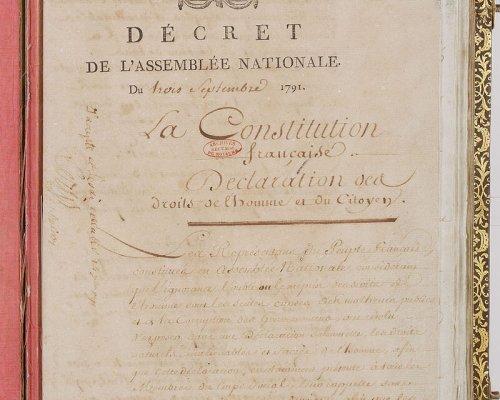 """Die nach dem """"Ballhausschwur"""" eingeführte Nationalversammlung verabschiedete am 3. September 1791 die erste Verfassung für Frankreich"""
