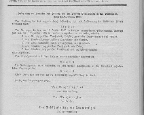 Locarno-Verträge und Völkerbund