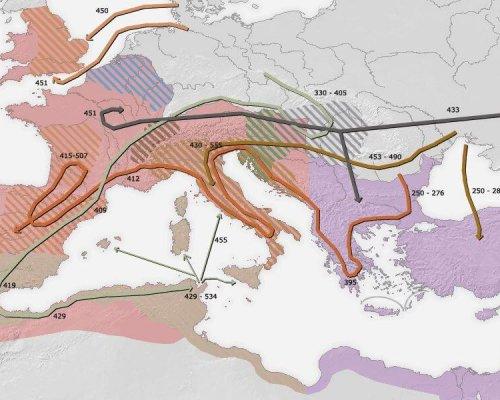 Karte Völkerwanderung Römisches Reich